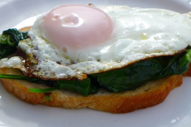 Eggs and spinach on toast